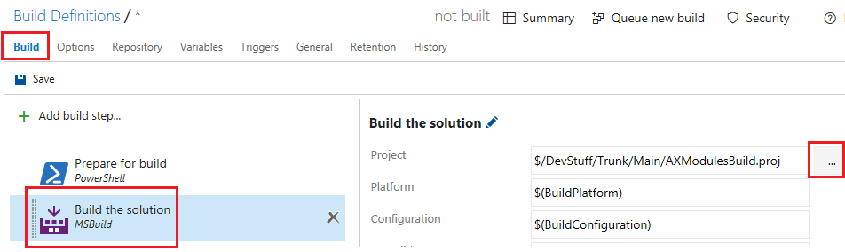 Dynamics Ax Musings: Pointing Your New Build Definition to a